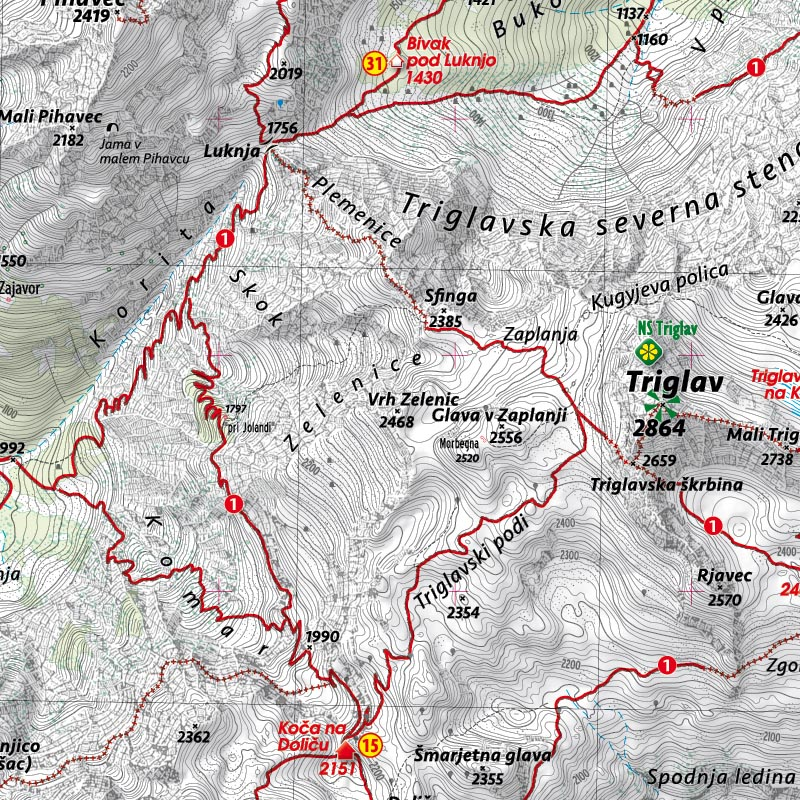 Izsek karte Triglav 25000
